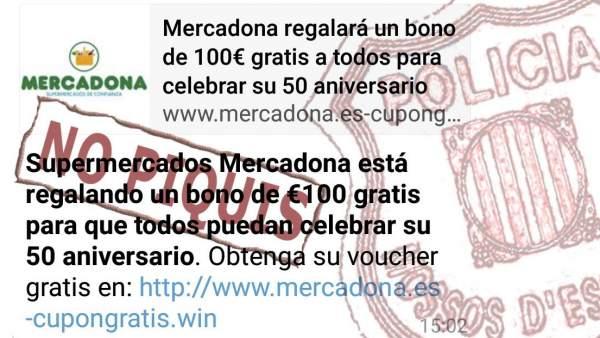"""Mercadona ofreciendo un """"bono de compra de 100 euros"""" de la empresa de alimentación para celebrar su 50 aniversario"""