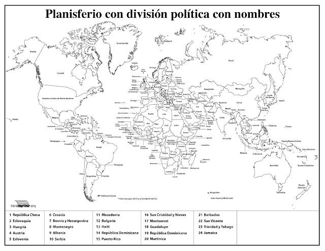 Mapa Politico Del Mundo Para Imprimir Con Nombres Imagui