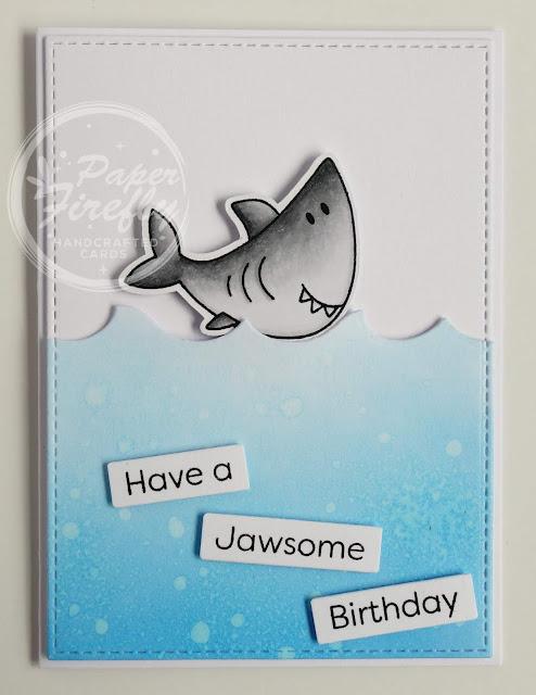 Handmade Funny Shark Birthday Card (using Beach Buds stamps from MFT)