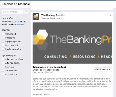 Sección de empleo en Facebook
