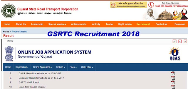 GSRTC Recruitment for 281 Clerk, Traffic Controller, Junior Assistant & Other Posts 2018 (OJAS)