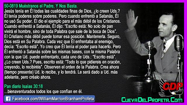 El ejemplo para el más débil de los Cristianos - Citas William Branham Mensajes