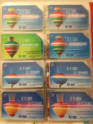 Serie di carte (o schede) telefoniche Sip/Telecom con le trottole ''se ti gira di''