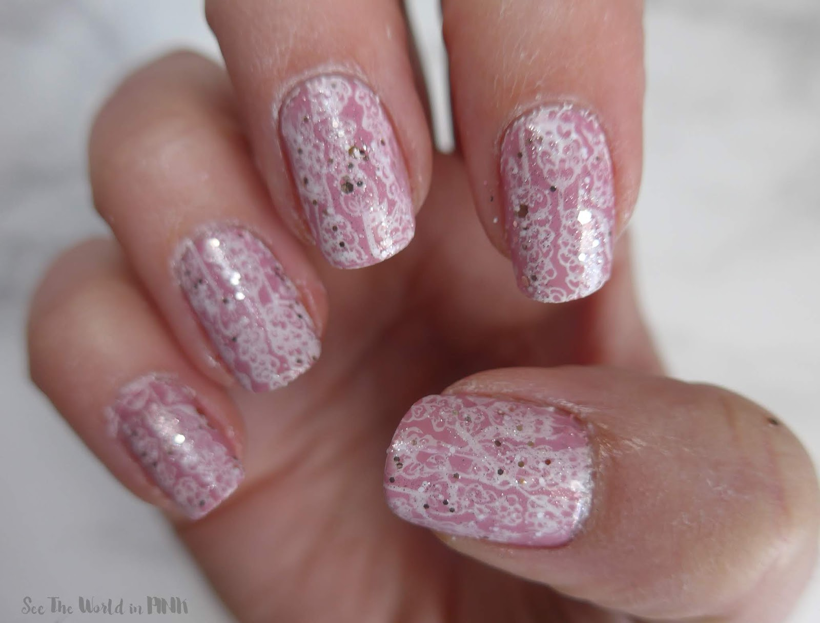 Manicure Monday - Pink, Floral & Glitter Bridal Nails