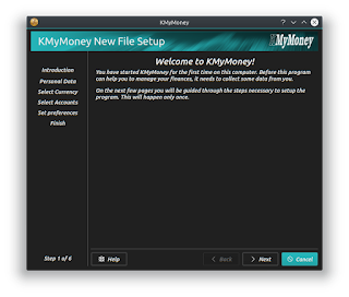 KMyMoney initial setup screen