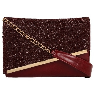 SEQUIN MINI SHOULDER BAG - OXBLOOD