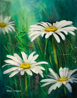 Wild Daisies – Watercolor Painting – Finished