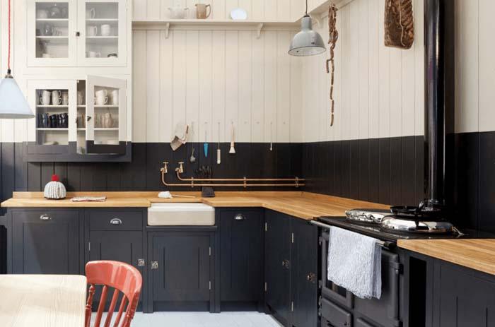 siyah beyaz çift ton mutfak dekorasyonu