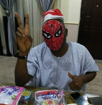 Christmas Mood: See Gov. Fayose In Spiderman/Santa Dress In Ekiti