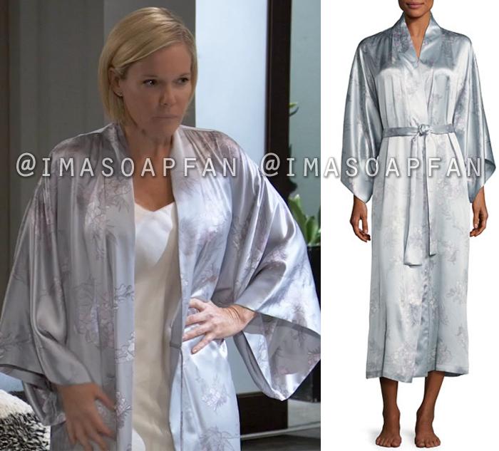 Ava Jerome, Maura West, Blue-Grey Floral Silk Robe, GH, General Hospital