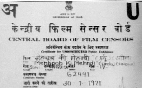 Urdu Censor certificate for Bollywood films