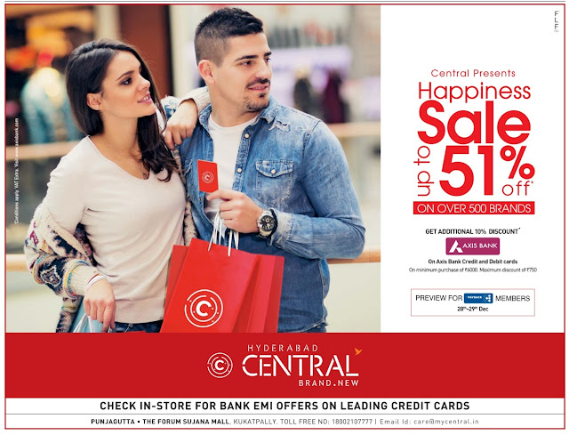Central - Up to 51% discount offer | December 2016 year end sale | Christmas festival discount offers