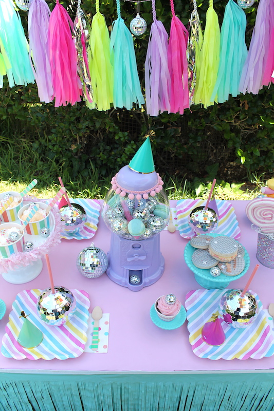 I added pastel rainbow striped plates polka dotted napkins striped ice cream spoons from the Bakers Party Shop mini party hats and the most darling ... & Disco Ball Ice Cream Party! - LAURAu0027S little PARTY