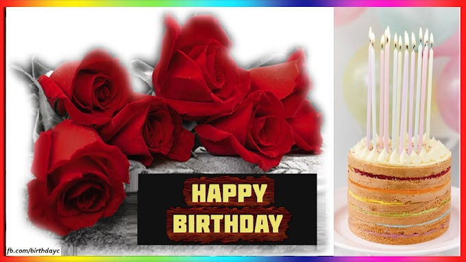 Birthday greeting card with red roses