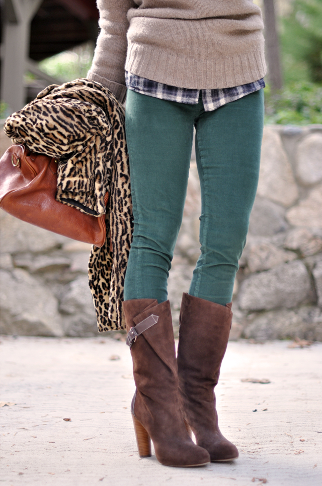 wintery warm outfit, green cords