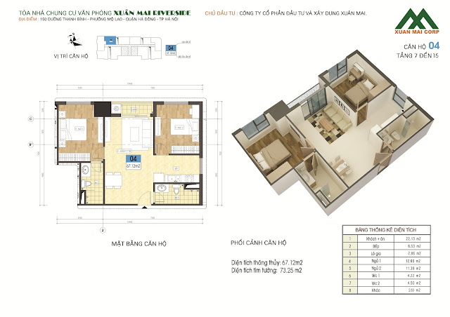 Thiết kế căn hộ 04 - dt 67m Xuân Mai Riverside