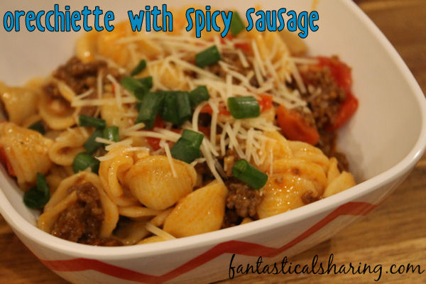 Orecchiette with Spicy Sausage // This pasta dish boasts spicy sausage and bursting roasted tomatoes -- it's so good that I always have to double the recipe! #recipe #sausage #pasta