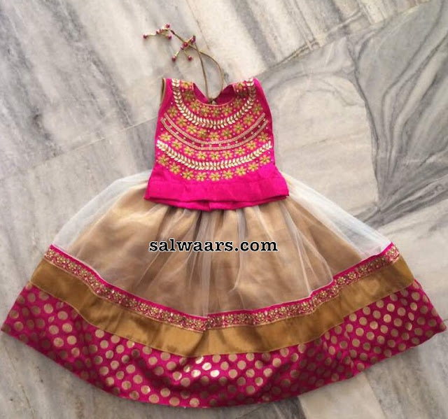 Beige Net Lehenga with Pink Blouse