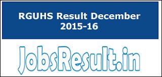 RGUHS Result December 2015-16