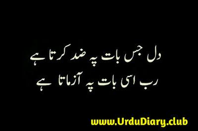 dil jis baat pay zid karta hai - urdu sad shayari images