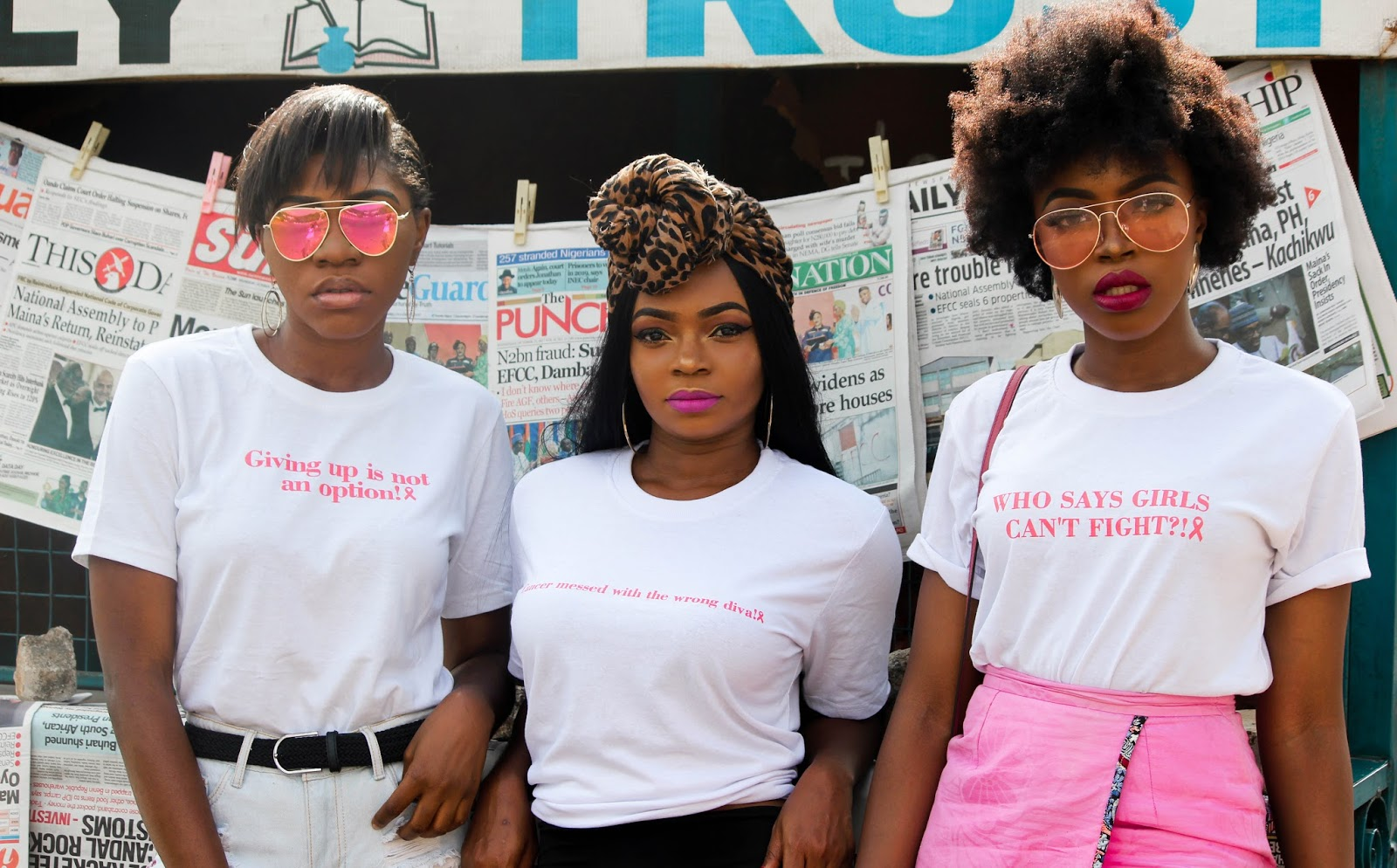SAVE THE BOOBIES | NIGERIAN BLOGGERS FOR BREAST CANCER - Portia, Bella and Kachi for Breast Cancer Awareness by Nigerian Fashion Bloggers