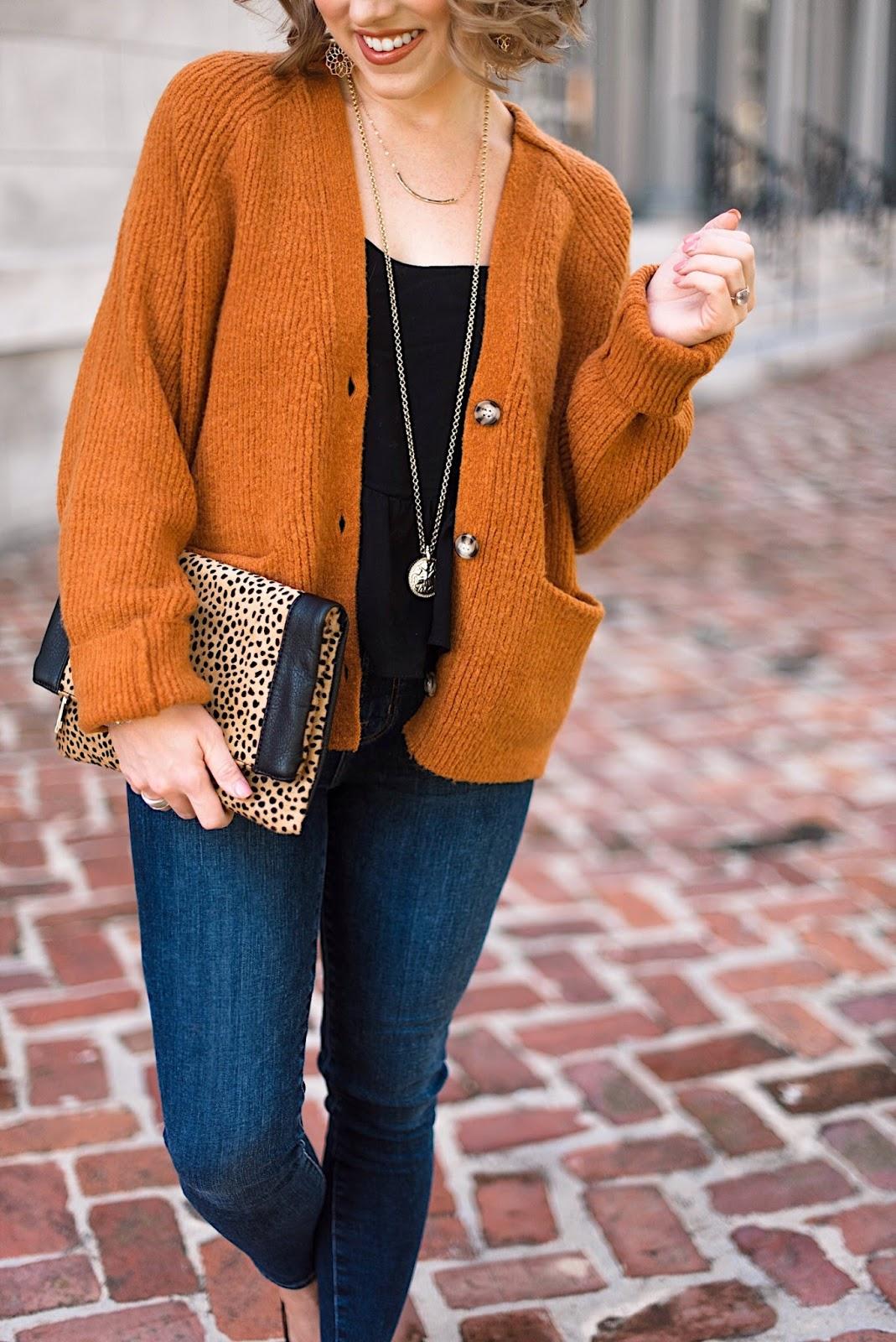Burnt orange, black and leopard for fall - Something Delightful Blog