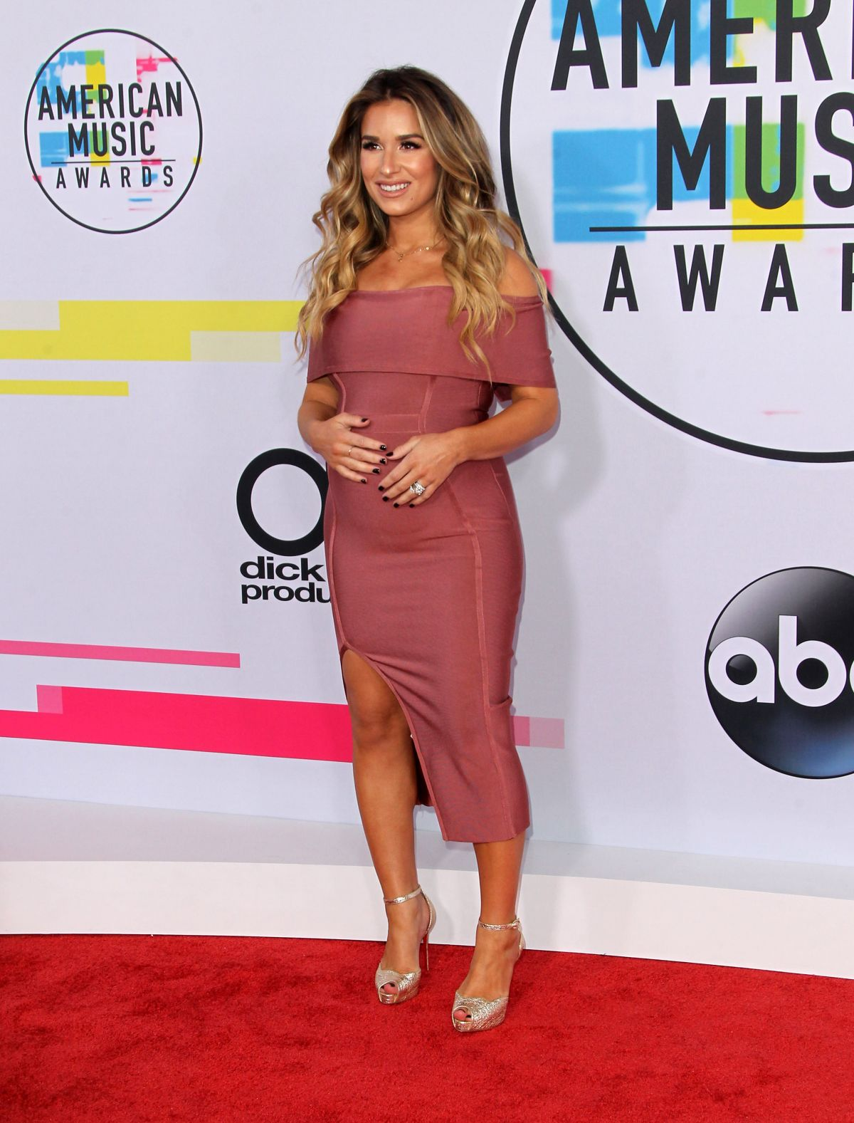 Pregnant Jessie James at American Music Awards 2017 at Microsoft Theater in Los Angeles