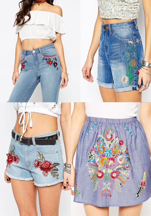 Asos denim bordado