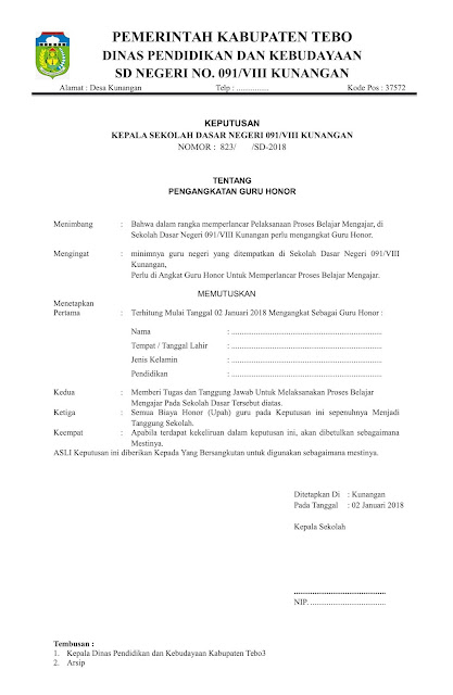 Contoh Surat Orton Contoh Surat Keputusan Atau Sk
