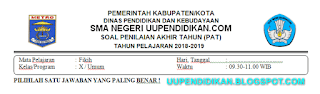 Soal dan Kunci Jawaban UKK/PAT Fiqih Kelas 10 MA K13 Tahun 2018/2019