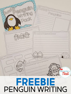 FREE Penguin Writing pack- 5 pages of penguin themed writing practice