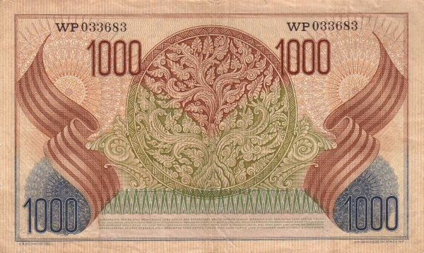 1000 rupiah 1952 belakang