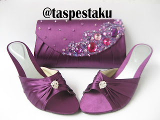 Set Matching Tas Pesta dan SLop Pesta Ungu Purple