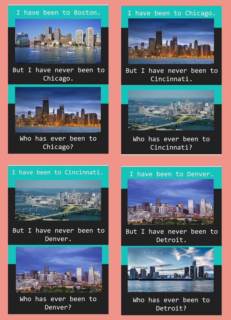 игра Who has been to Boston (скачать заготовки)