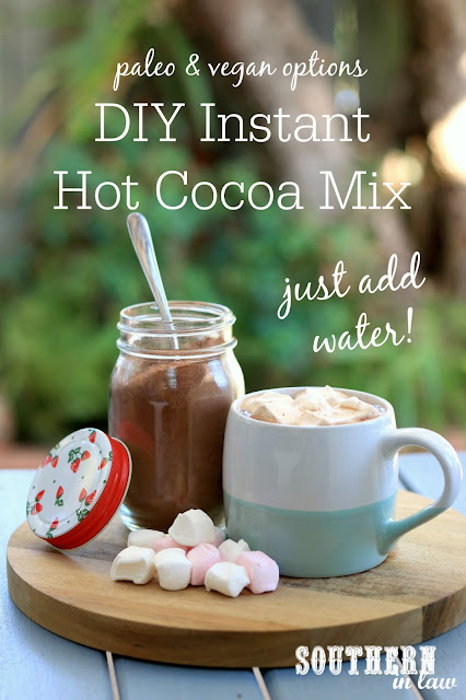 Easy DIY Instant Hot Chocolate Mix Recipe - homemade hot cocoa mix, gluten free, paleo, vegan, healthy, clean eating recipe, sugar free