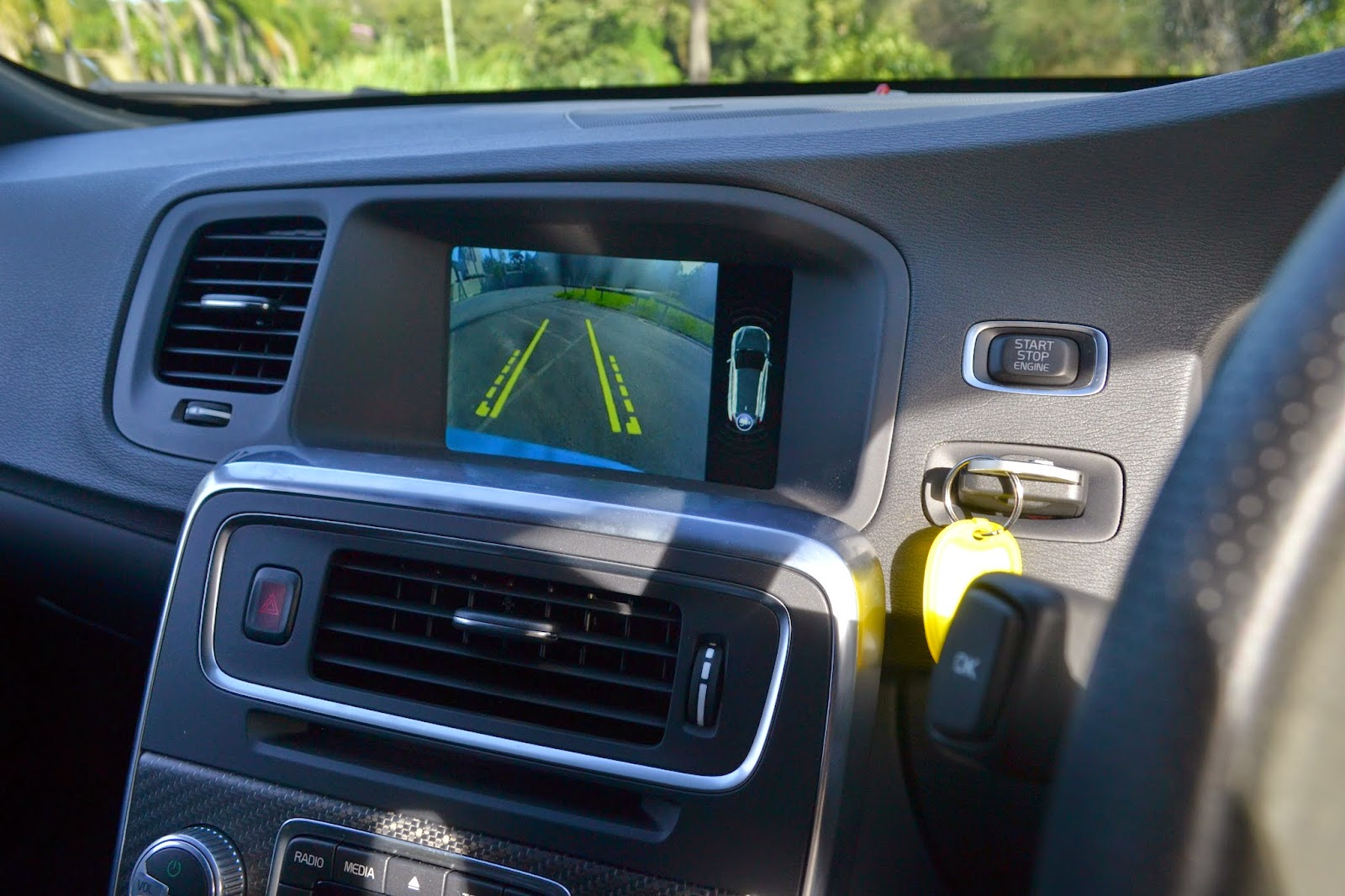 Select reverse and the V60's screen displays the rear camera image