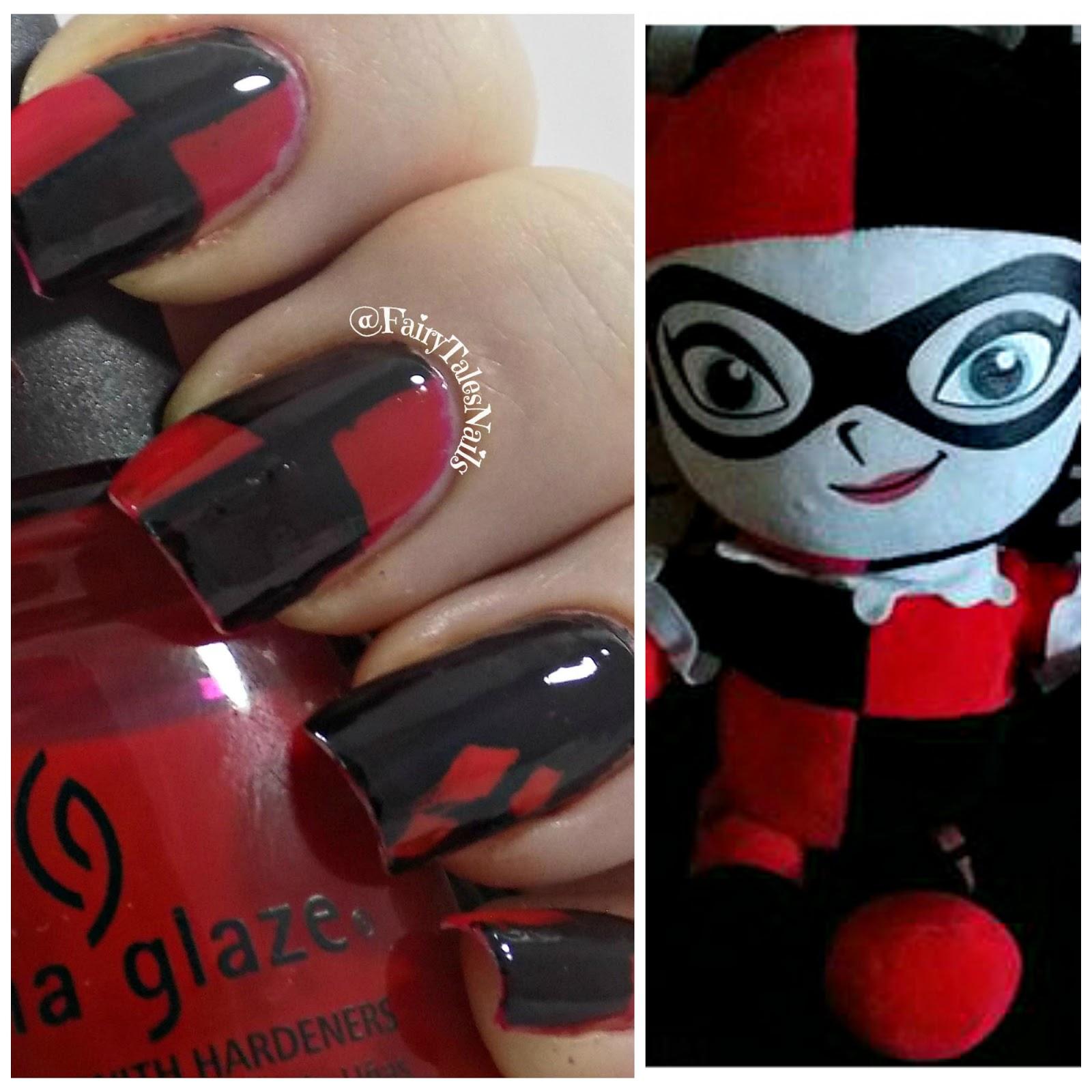 Fairytales Nails Harley Quinn Nail Art