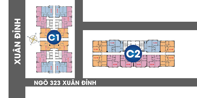 Vị trí tiếp giáp 2 mặt tiền lớn chung cư C1 C2 Xuân Đỉnh