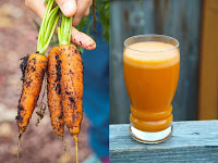left image of the collage contains whole carrots and right one contains carrot juice