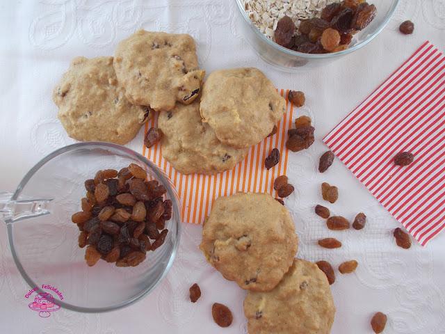 Galletas de okara de avena con manzana y pasas