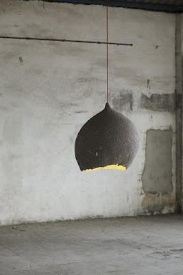 lámpara papel mache