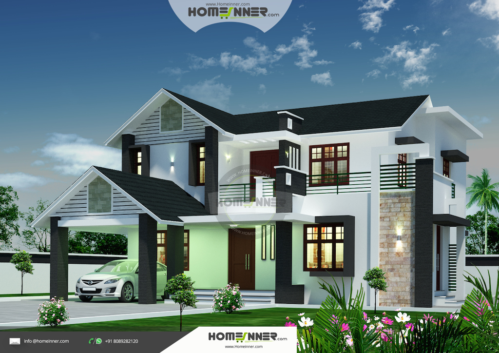 2452 sqft attractive 4 bedroom kerala villa design for 4 bedroom villa designs