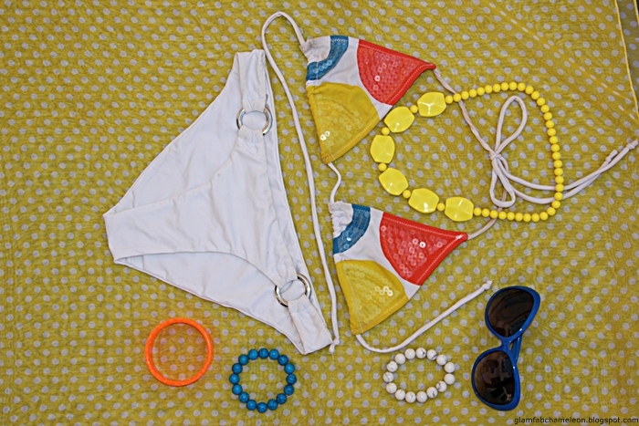 White bikini colorful accessories fashion flatlay