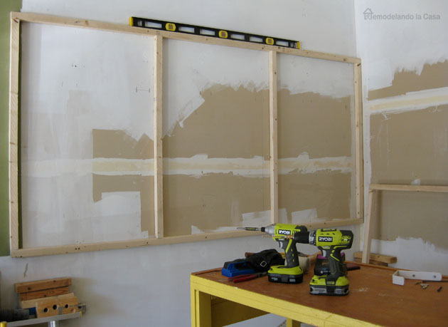 Ryobi tools used to install a pegboard in garage