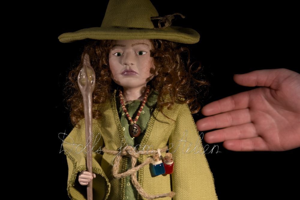 OOAK Celtic witch doll with human hand