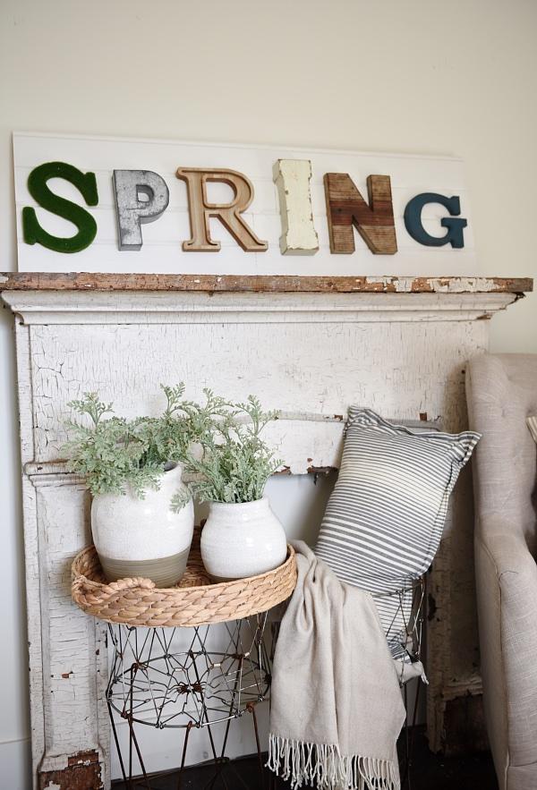 Rustic metal spring sign