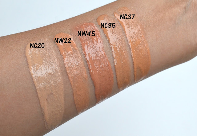 MAC Studio Waterweight SPF 30 Foundation Swatches