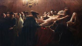 Pintura encargada por el zar Alejandro III al pintor húngaro Munkácsy Mihály tras el asesinato ritual de la joven húngara de 14 años Solymosi Eszter