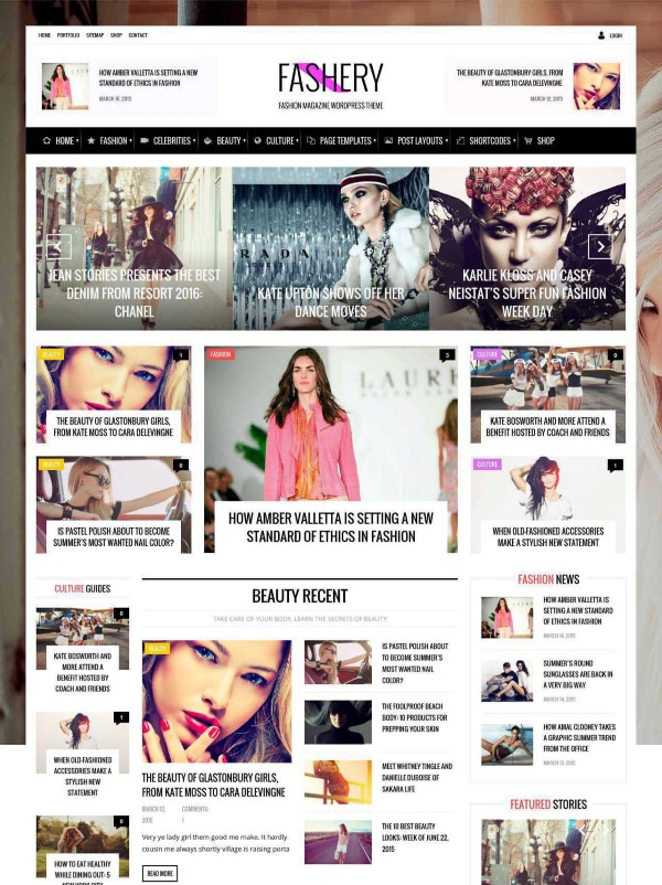 Fashery magazine theme for online portals