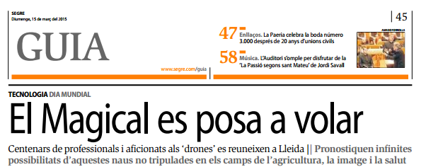 Resumen total de prensa, fotos y vídeos del #internationaldroneday #teamcatalonia #dronesaregood #lleida #drone